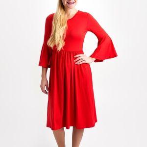 Dresses & Skirts - Red Bell Sleeve Dress